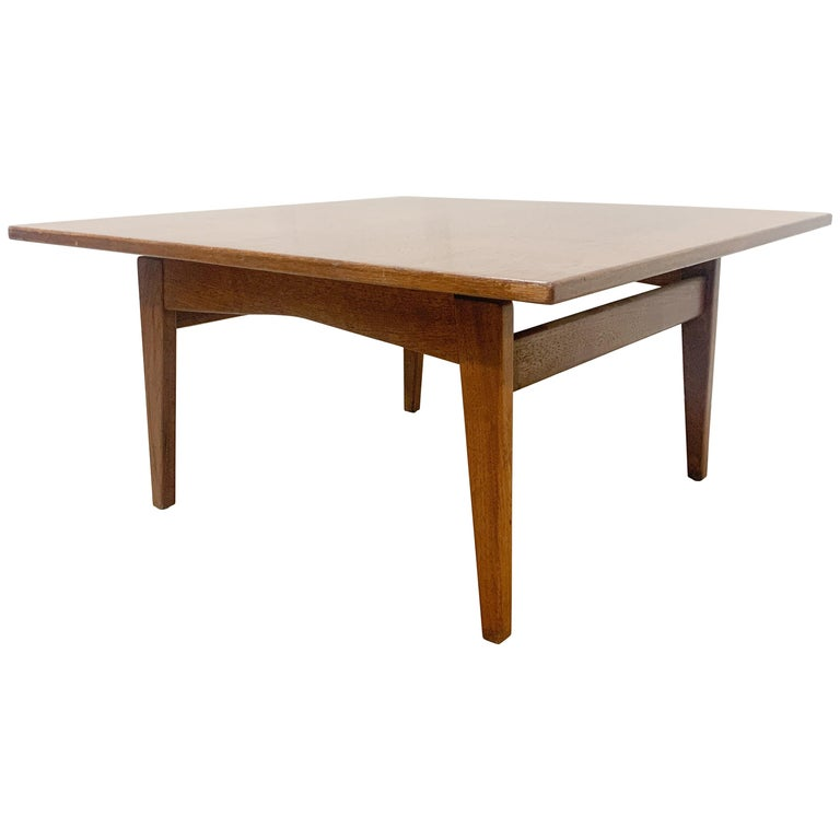 Jens Risom Walnut Square Coffee Table For Sale