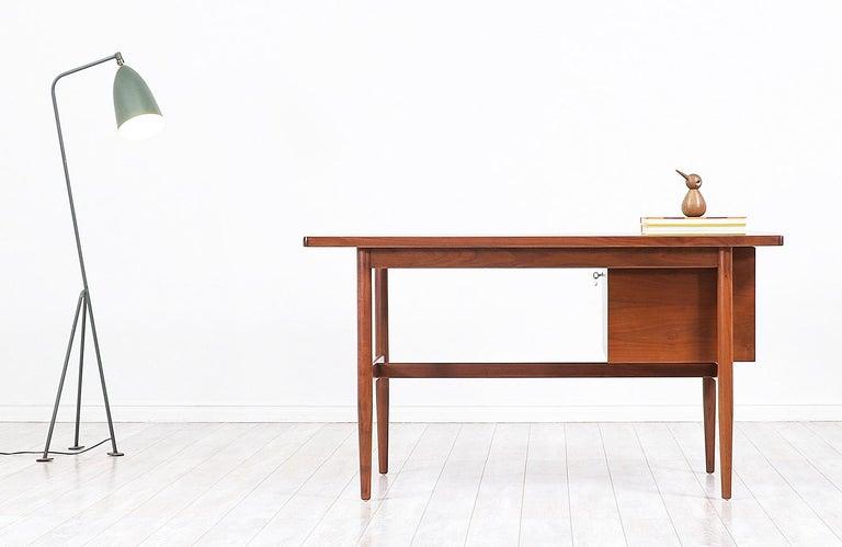 Wood Jens Risom Walnut Writing Desk For Sale