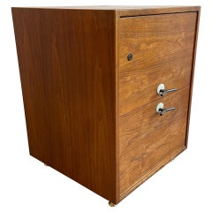 """Jens Risom """"Y Pulls"""" Two Drawer Dresser in Walnut Wood with Brass by Jens Risom"""