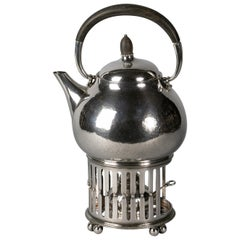 Jensen Sterling Silver Kettle on Stand with Ebony finial and Handle, circa 1920