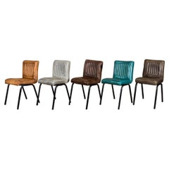 Jenson Distressed Leather Dining Chairs, 20th Century