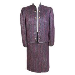 Jenuesse Purple Gold Metallic Wool Skirt Suit Vintage 1980s