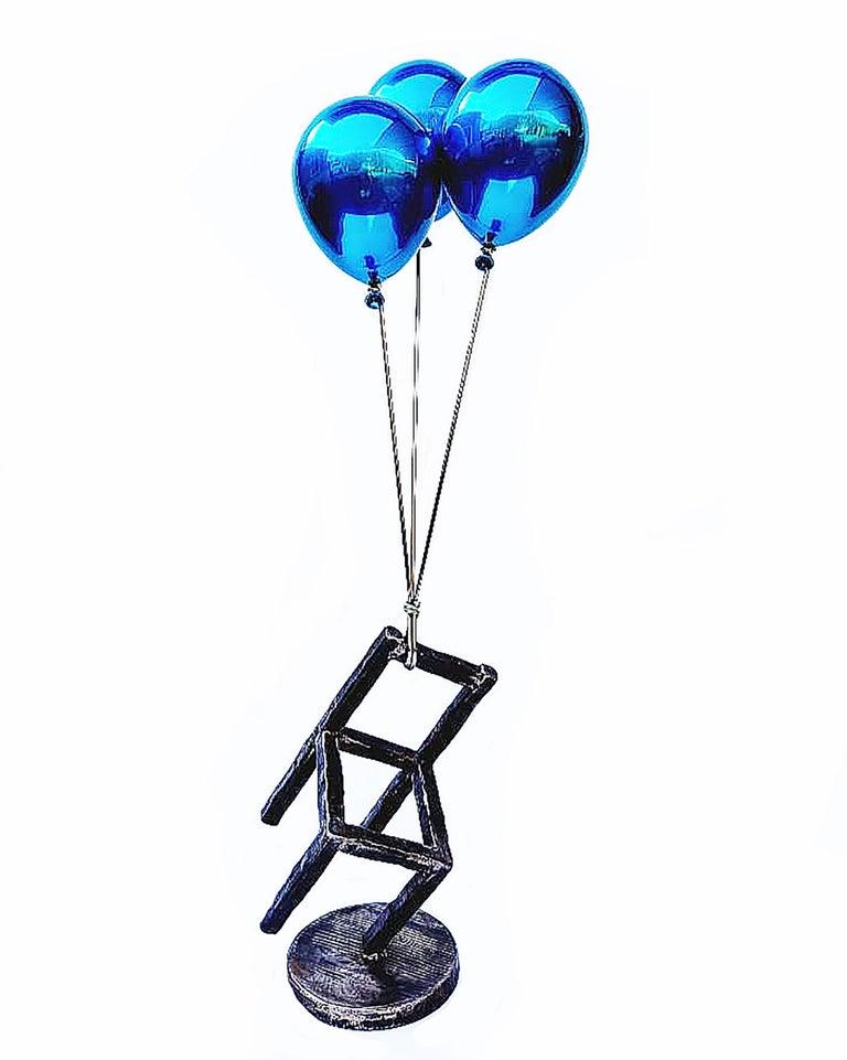 Jeon Kang Ok Figurative Sculpture - Blue Balloons & Stool