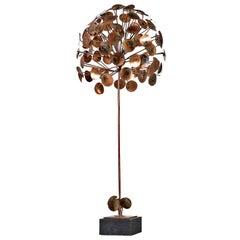 Jere & Jonathan Adler Style Brutalist Raindrop Tree Metal Sculpture