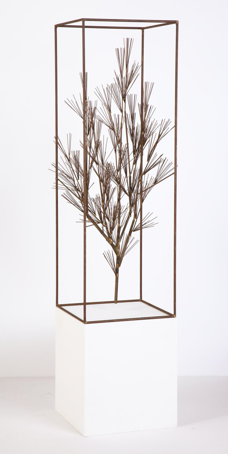 Mid-Century Modern Jere Sculpture of Abstract Tree in Frame, USA, 1960s For Sale