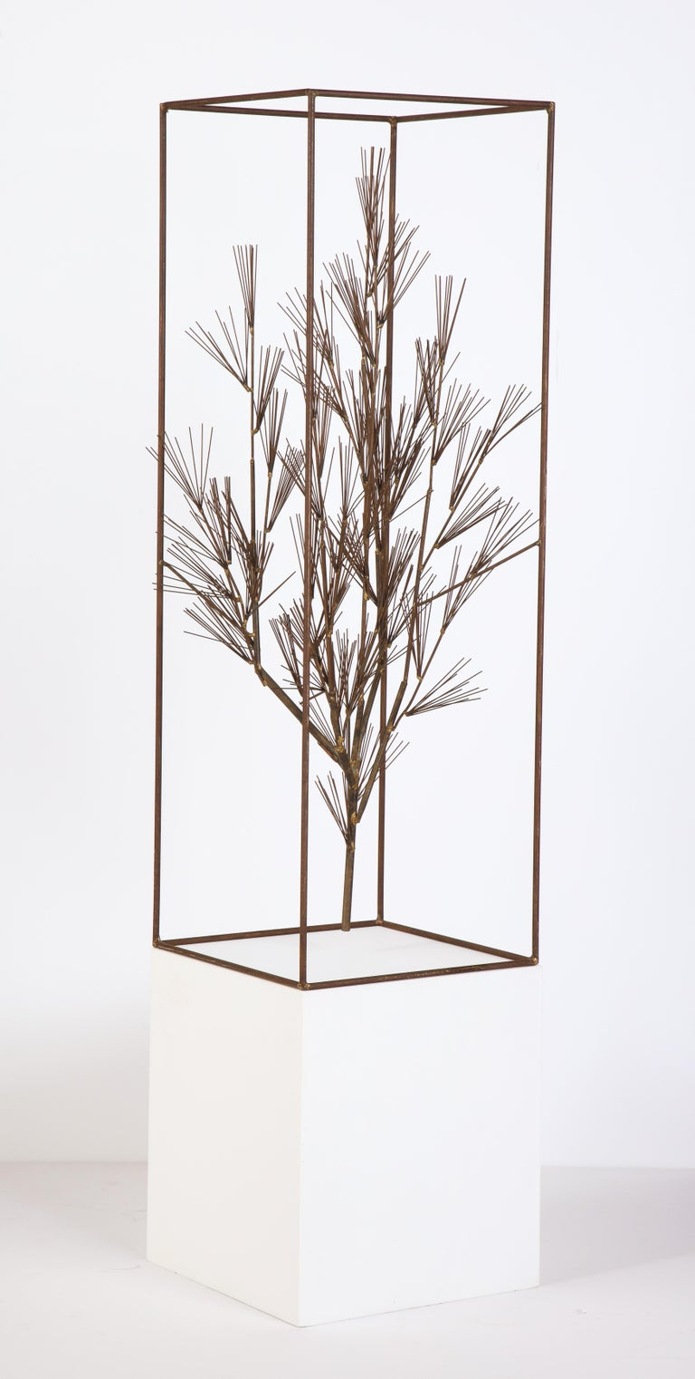Jere Sculpture of Abstract Tree in Frame, USA, 1960s In Good Condition For Sale In New York, NY