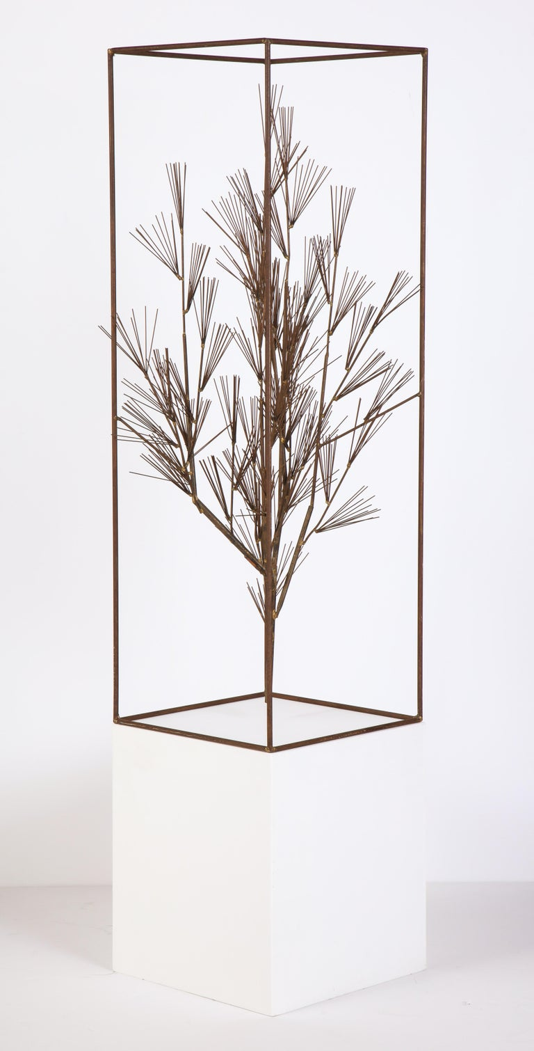 Metal Jere Sculpture of Abstract Tree in Frame, USA, 1960s For Sale