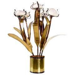 Jere Style Brutalist Fantasy Sand Dollar Sea Urchin Sculptural Metal Table Lamp