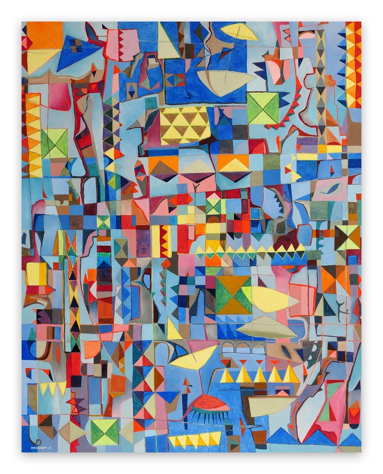 Plage (Abstract Painting)  Oil on canvas - Unframed.  Artwork exclusive to IdeelArt.  French abstract artist Jérémie Iordanoff blends the visual languages of Western Modernist Abstraction with earlier, global aesthetic traditions, such as those of