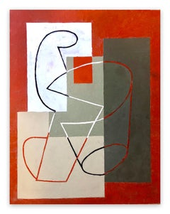 Breaking Contour (Red Square) II (Abstract Painting)