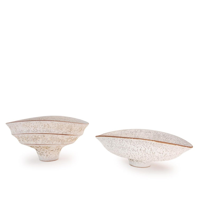 Organically-shaped large white ceramic bowl with an unusual volcanic glaze finish by Arizona artist Jeremy Briddell.