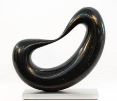 Bridge No. 3 - small, smooth, polished, abstract, black marble sculpture