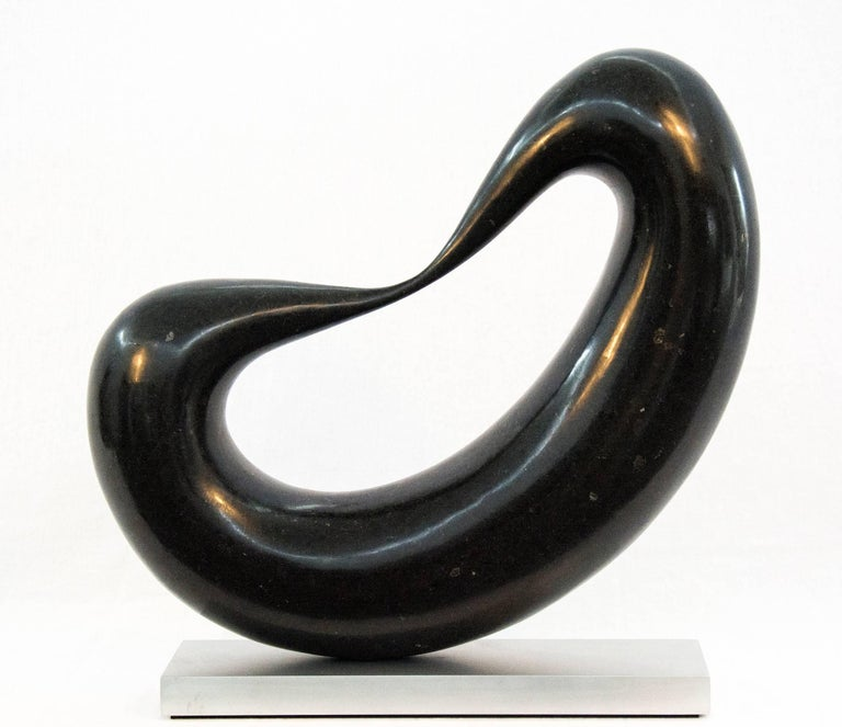 Jeremy Guy Abstract Sculpture - Bridge No. 3 - small, smooth, polished, abstract, black marble sculpture