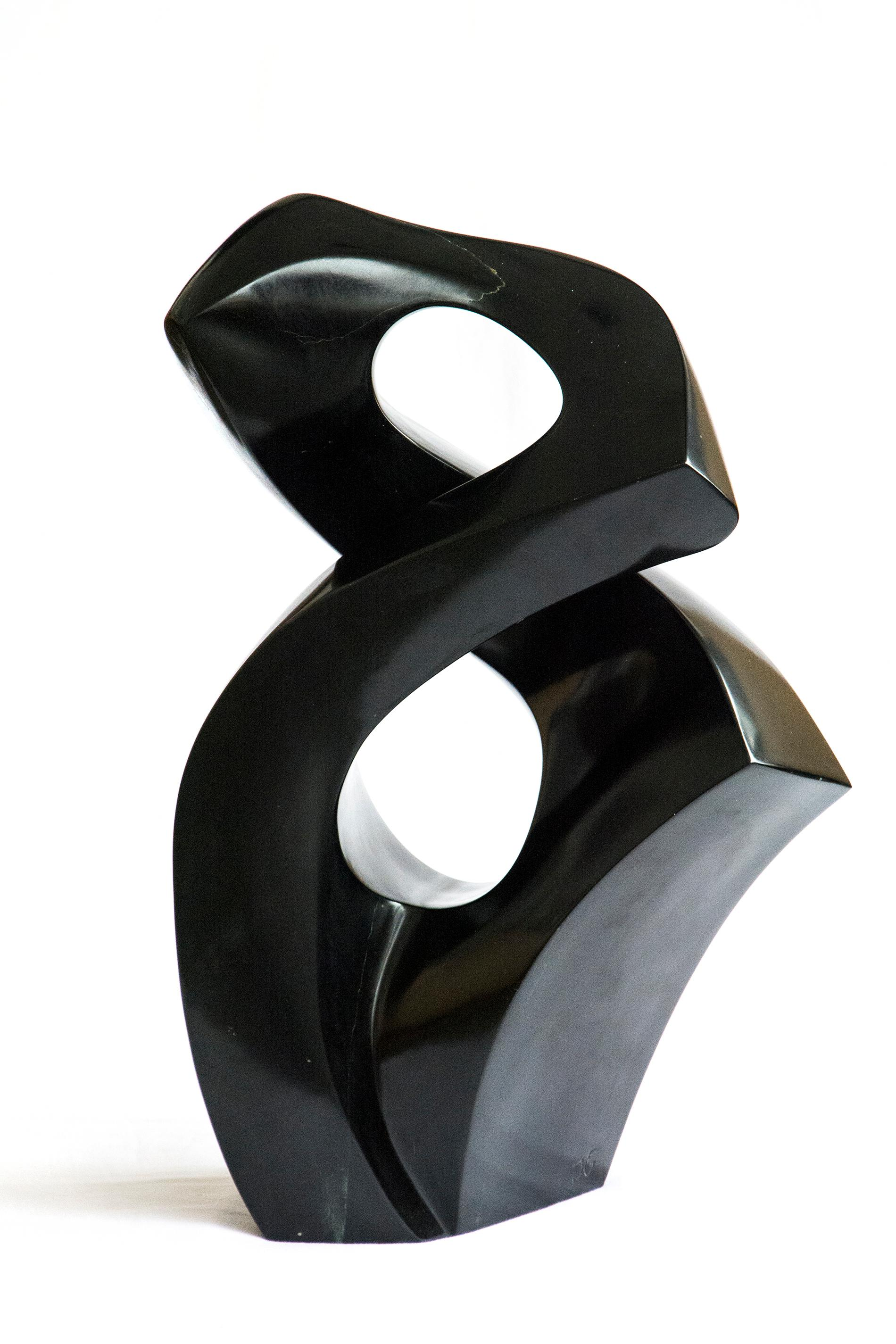 Embrace - small, smooth, polished, abstract, black marble sculpture