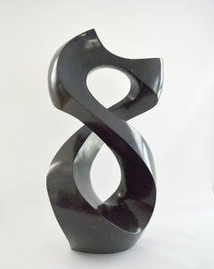 Halcyon Black 6/50 - dark, smooth, polished, abstract, black granite sculpture