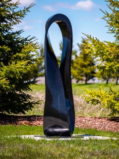 Mobius H6 10/50 - large, smooth, black granite, outdoor, abstract, sculpture