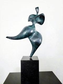 Solstice Blue Ed 1/12 - elegant, female, figurative, bronze, granite sculpture