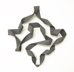 Jeremy Holmes - Evening Gray -  bent wood - painted white ash - wall sculpture