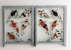 """""""5 Koi - Diptych"""" Spray paint on found glass in off white window wood frame"""