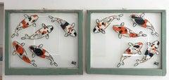 """5 Koi - Diptych"" Spray paint on found glass in sage green window wood frame"