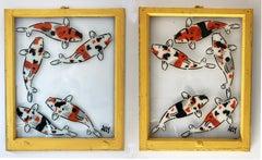 """5 Koi- Diptych"" Spray paint on found glass in yellow window wood frame"