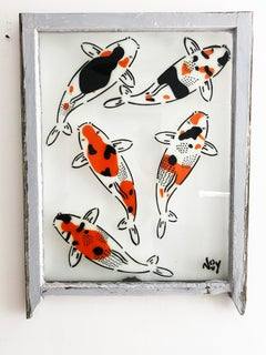 """""""5 Koi - Left"""" Spray paint on found glass in pale blue window wood frame"""