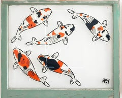 """""""5 Koi - Left"""" Spray paint on found glass in sage green window wood frame"""