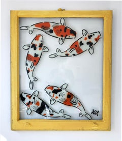 """""""5 Koi- Left"""" Spray paint on found glass in yellow window wood frame"""
