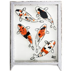 """""""5 Koi - Right"""" Spray paint on found glass in pale blue window wood frame"""