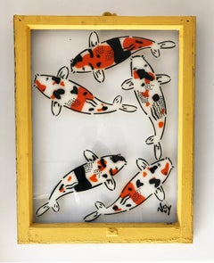 """""""5 Koi - Right"""" Spray paint on found glass in yellow window wood frame"""
