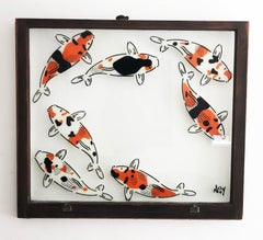 """""""5 Koi - """" Spray paint on found glass in brown window wood frame"""