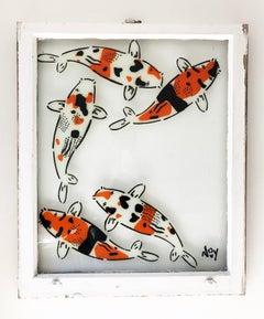 """5 Koi- Left"" Spray paint on found glass in white window wood frame"