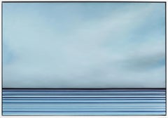 Untitled No. 521 - Large Framed Contemporary Minimalist Blue Artwork