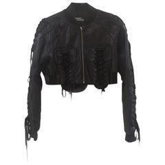 Jeremy Scott black leather jacket NWOT