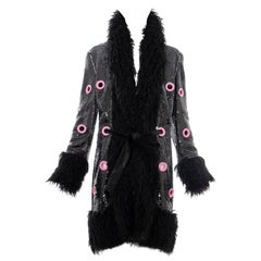 Jeremy Scott Runway Black Sequins Faux Fur Pink Enamel Grommets Coat, Fall 2016