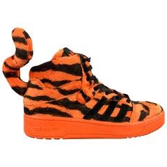 JEREMY SCOTT x ADIDAS Size 9 Orange & Black Tiger Print High Top Sneakers