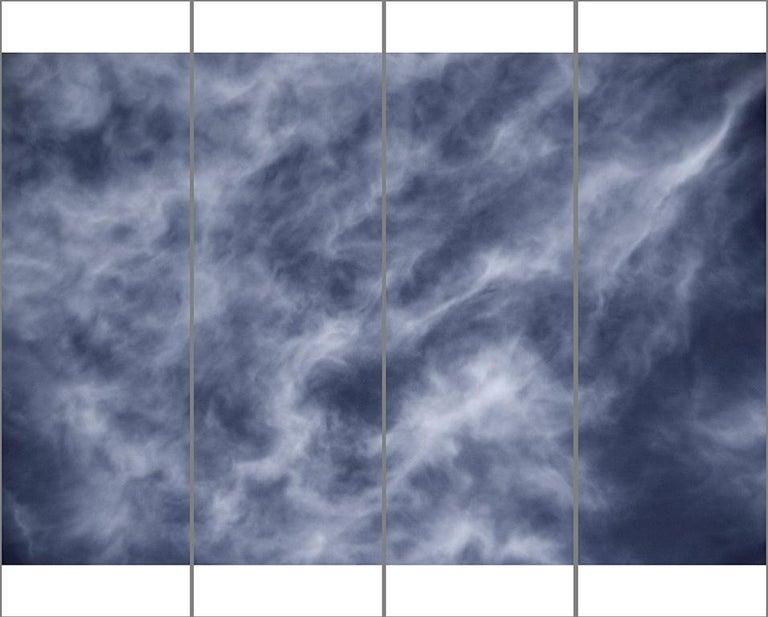 Jeri Eisenberg Landscape Photograph - Songs of the Sky No. 13 (4 Panel Sky Photograph Japanese Kozo Paper/Encaustic)