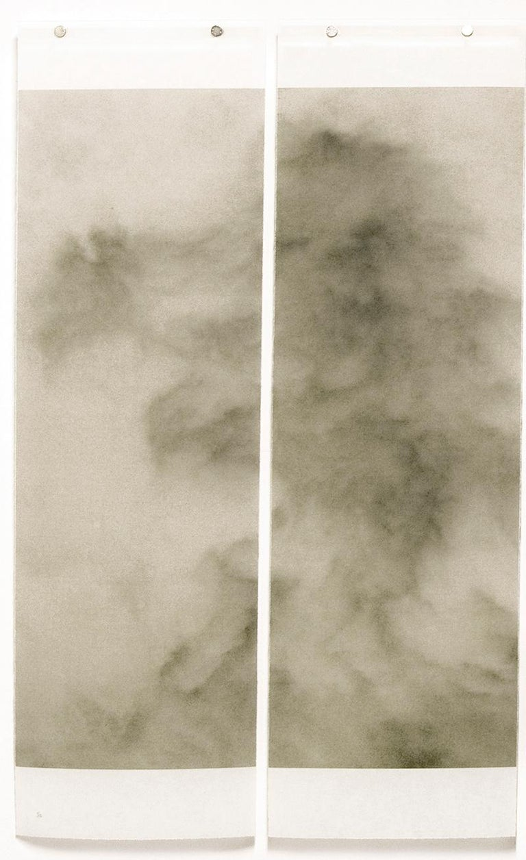 Abstract landscape sepia tone photograph of clouds  Japanese Kozo paper infused with encaustic on 4 panels, each panel is 36 inches x 11 inches  edition of 12 36 x 45.5 inches unframed, made to order  Jeri Eisenberg's photographs, which capture