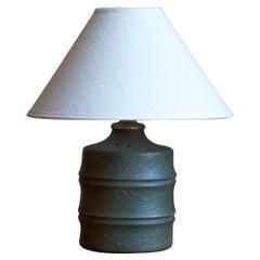 Jerk Werkmäster, Table Lamp, Ceramic, Brass, Nittsjö, Sweden, 1940s