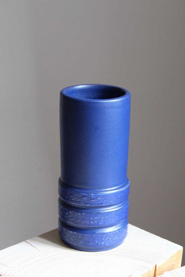 A modernist vase designed by Jerk Werkmäster. Produced by Nittsjö, Sweden, 1940s. Stamped and signed.  Other designers of the period include Axel Salto, Paavo Tynell, Lisa Johansson-Pape, Carl-Harry Stålhane, and Gunnar Nylund.