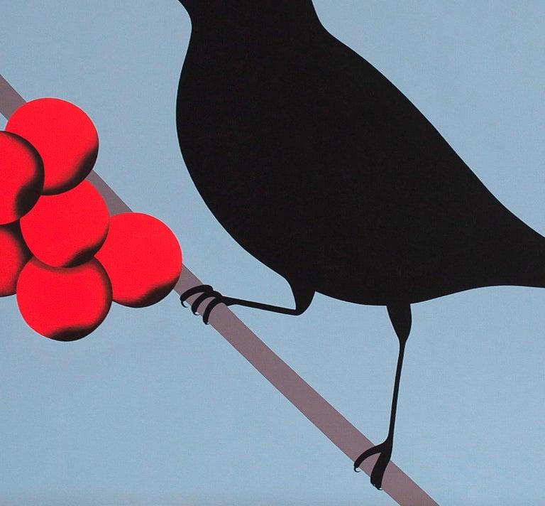 Black bird - figurative landscape painting - Painting by Jeroen Allart