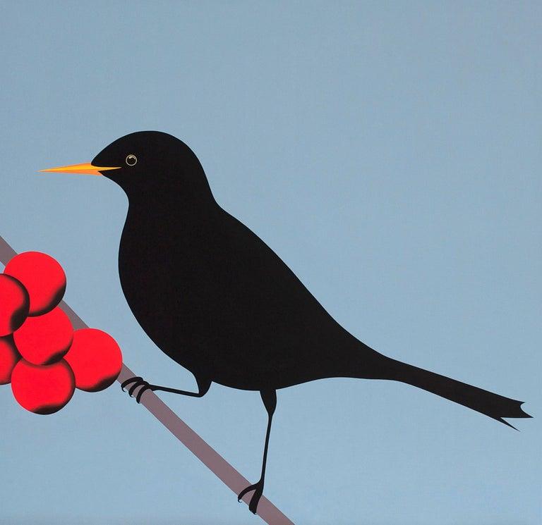 Jeroen Allart Figurative Painting - Black bird - figurative landscape painting