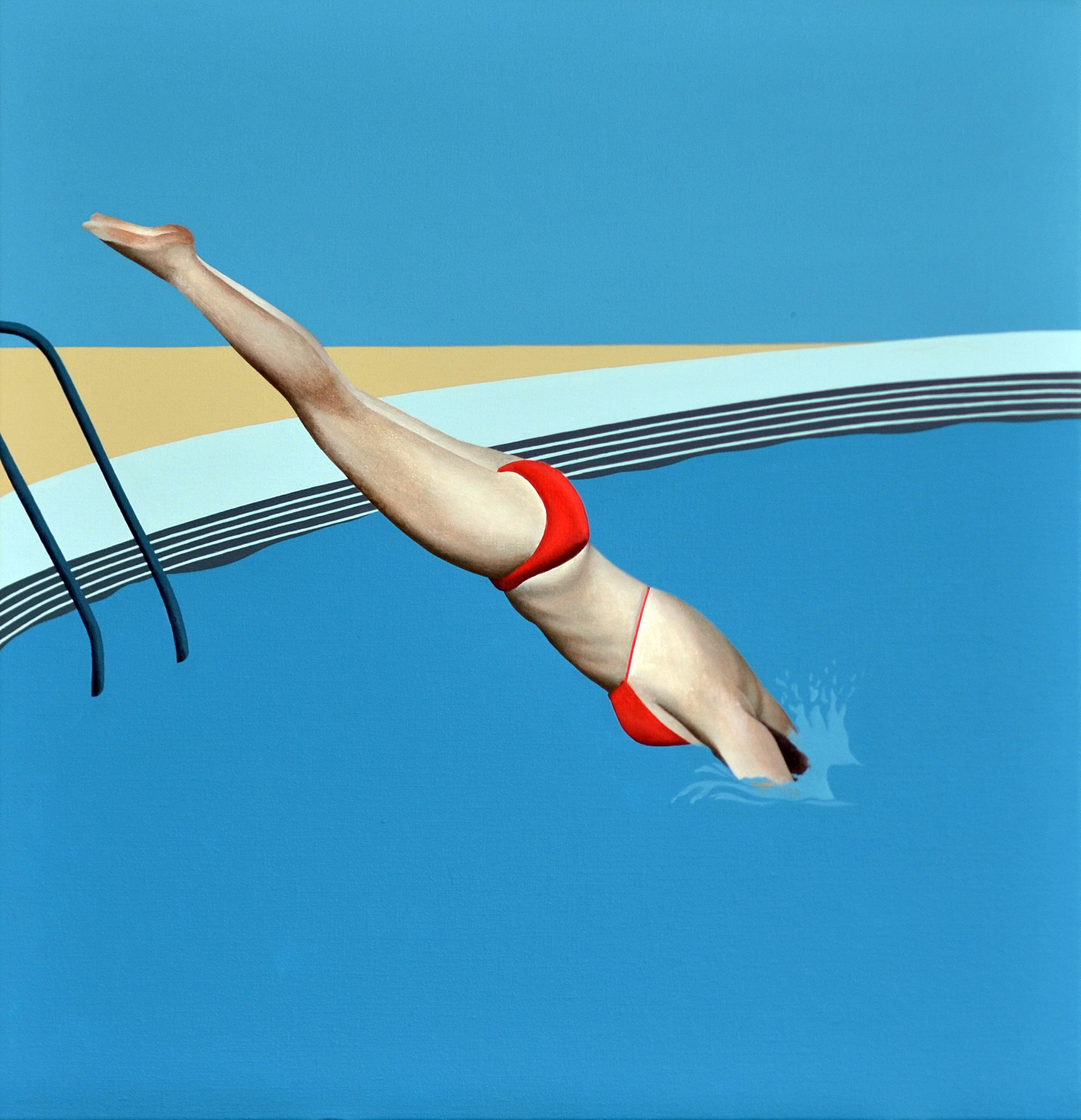 Diver - figurative landscape painting