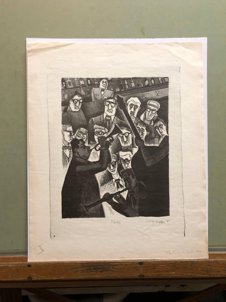 The Critic or Nick's 1947 Lithograph Jazz Band - Beige Figurative Print by Jerome Kaplan