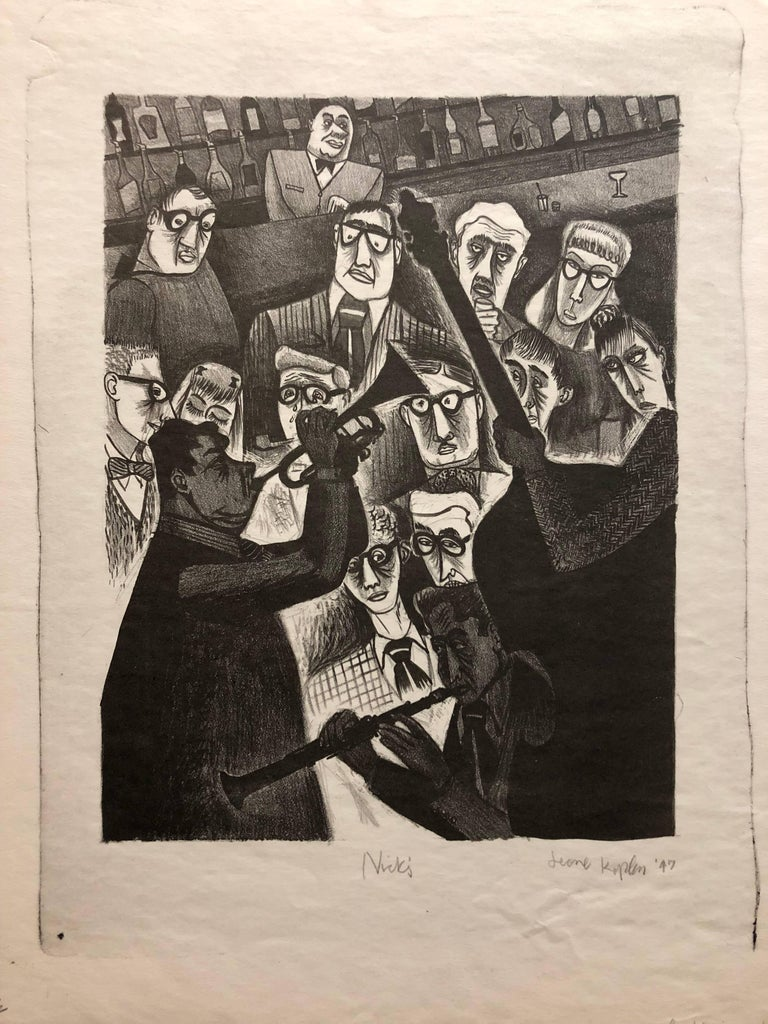 Jerome Kaplan Figurative Print - The Critic or Nick's 1947 Lithograph Jazz Band