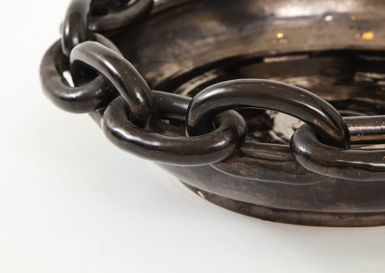 Mid-Century Modern Jerome Massier Black Ceramic Bowl with Chain Link, circa 1950 For Sale