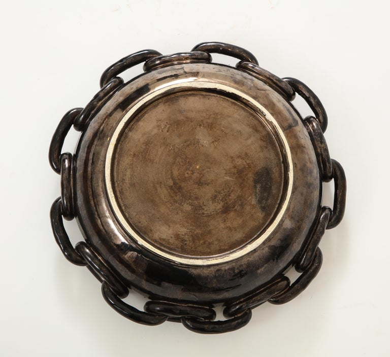 Jerome Massier Black Ceramic Bowl with Chain Link, circa 1950 In Good Condition For Sale In New York City, NY
