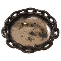 Jerome Massier Black Ceramic Bowl with Chain Link, circa 1950