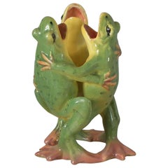 Jerome Massier Fils Majolica Frogs Posy Vase