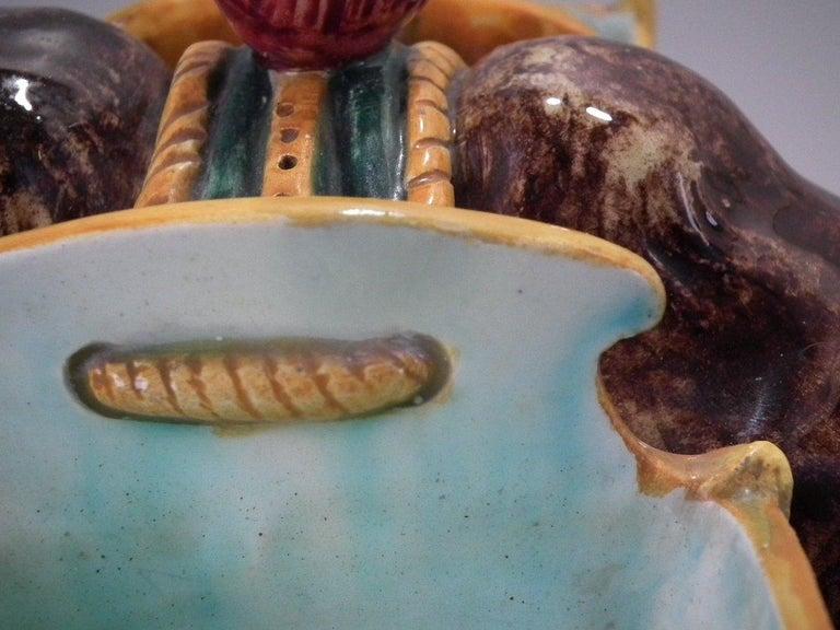 Glazed Jerome Massier Majolica Camel with Baskets Figure For Sale